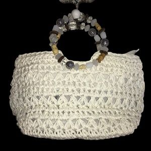 Cappelli White Straw Purse with Beaded Handle